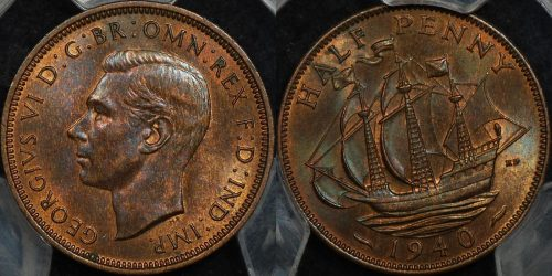 Great britain 1940 halfpenny 1 2d km 844 PCGS MS63rb Choice Uncirculated