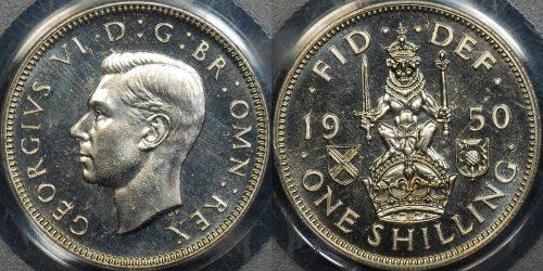 Great britain 1950 shilling 1s km 877 PCGS PR65 proof scottish reverse