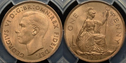 Great britain 1951 penny 1d km 869 PCGS MS65rd GEM Uncirculated