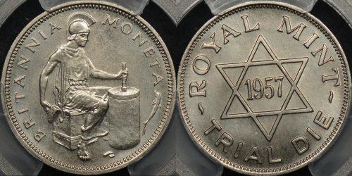 Great britain 1957 royal mint die trial stainless steel PCGS MS68 GEM Uncirculated