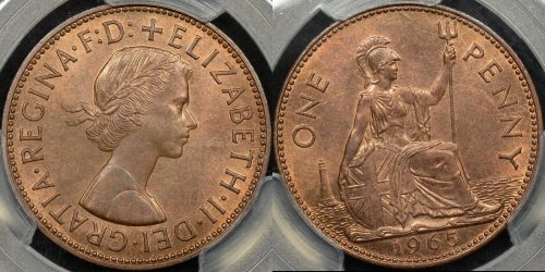 Great britain 1965 penny 1d km 897 PCGS MS65rb GEM Uncirculated
