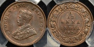 India british 1924c 1 12 anna (1 pie) km 509 PCGS MS65bn GEM Uncirculated