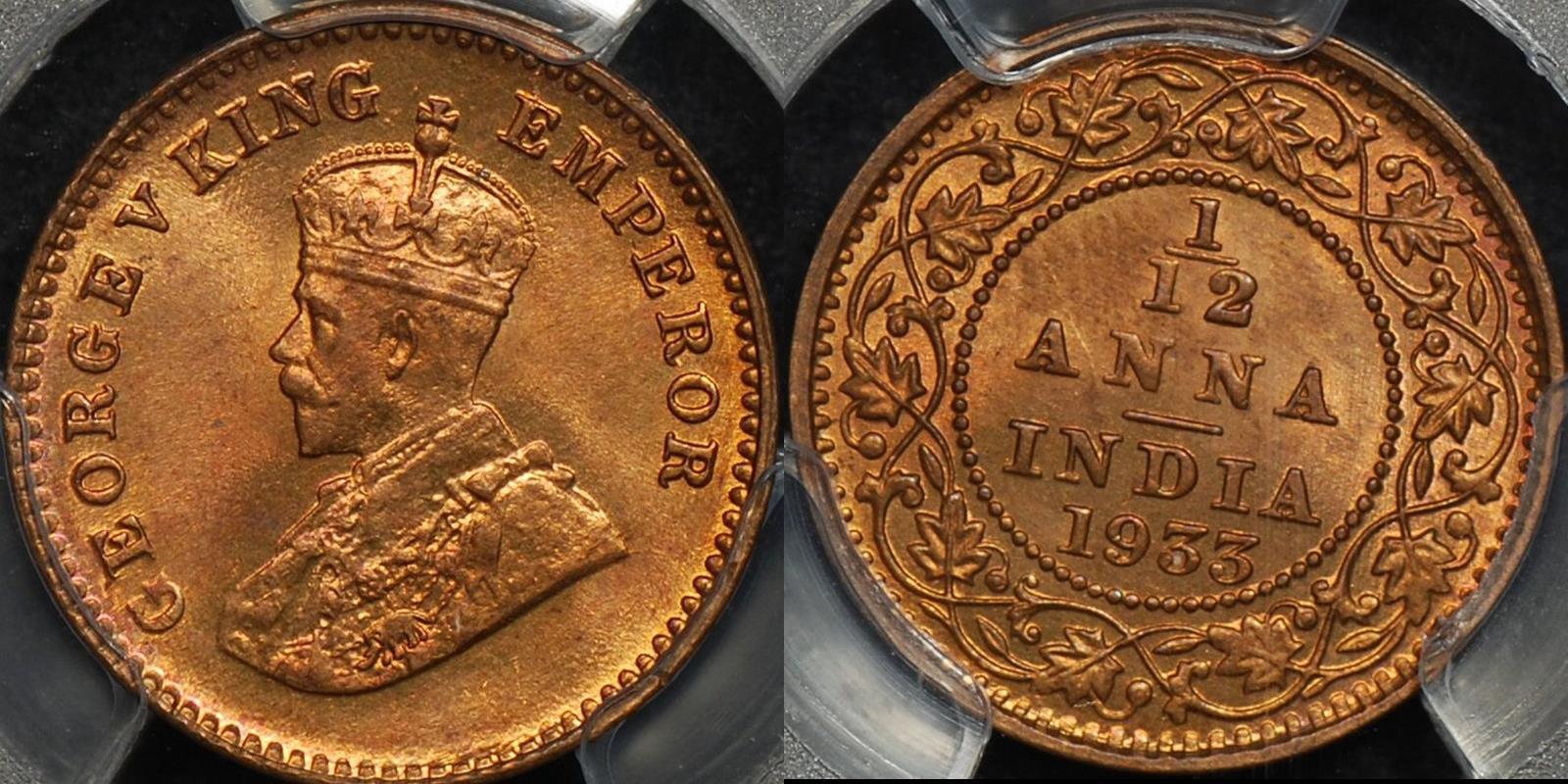 India british 1933c 1 12 anna (1 pie) km 509 PCGS MS65rb GEM Uncirculated