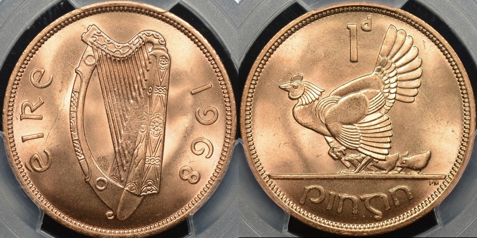 Ireland 1968 penny km 11 GEM Uncirculated PCGS MS65rd red