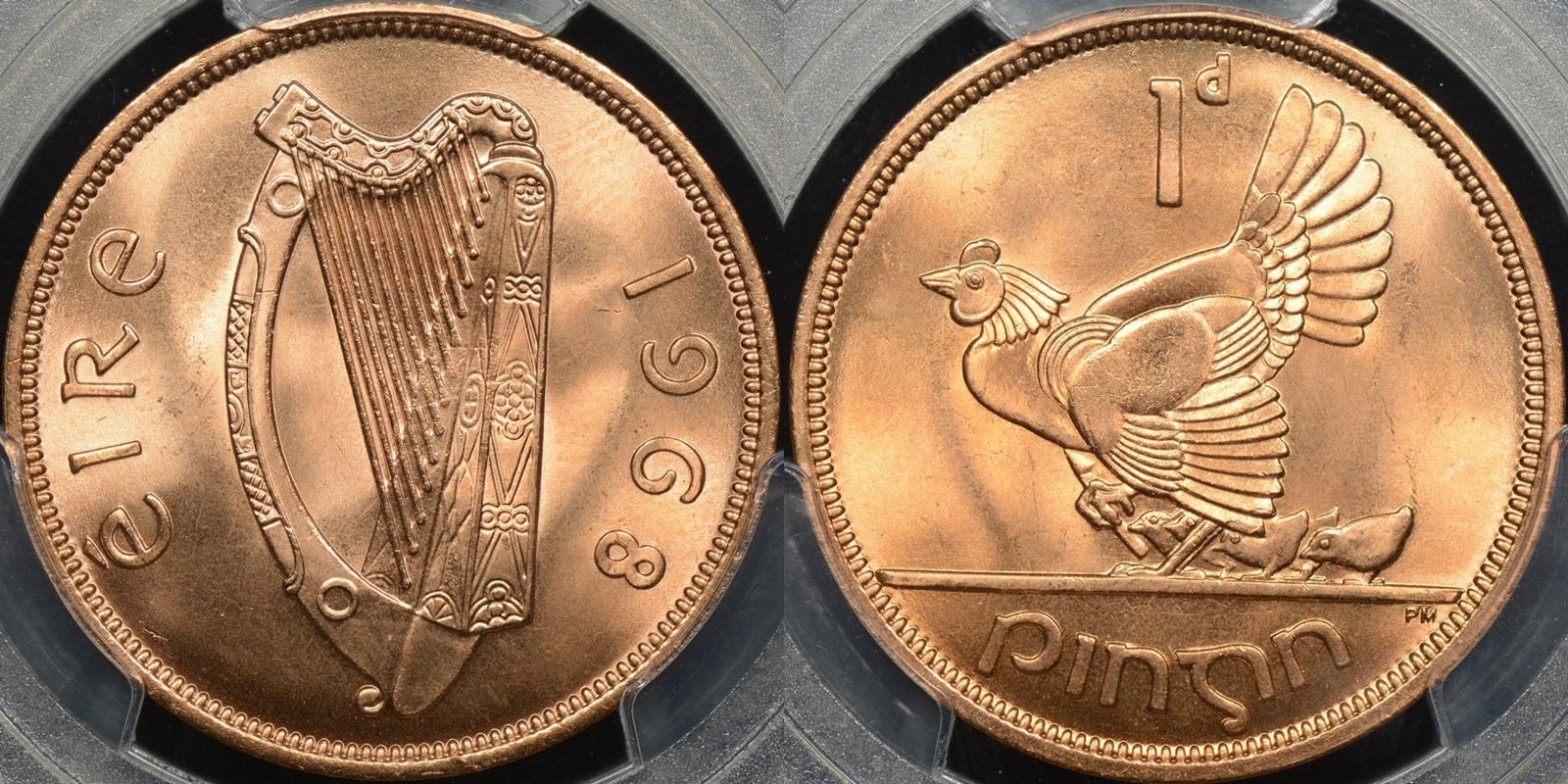 Ireland 1968 penny km 11 GEM Uncirculated PCGS MS66rd red
