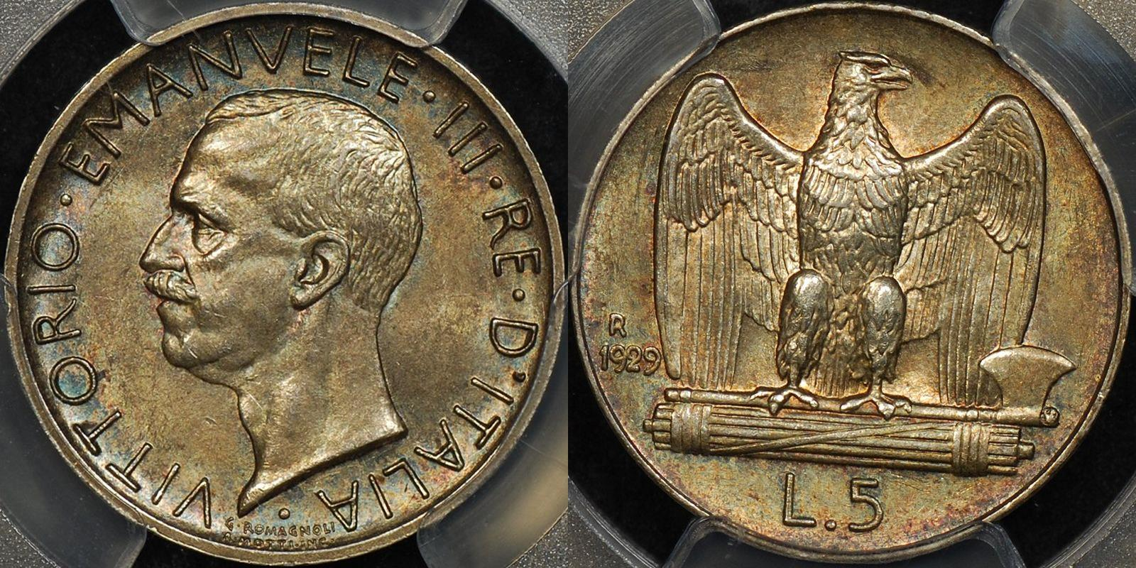 Italy 1929 r 5 lire 5l km 67.1 PCGS MS63 Uncirculated