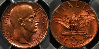 Italy 1939 r 5 centisimi 5c km 73 PCGS MS65rb GEM Uncirculated