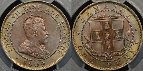 Jamaica 1909 1d PCGS MS64