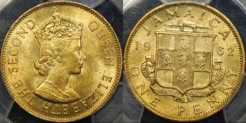 Jamaica 1962 penny 1d PCGS MS64 Choice Uncirculated