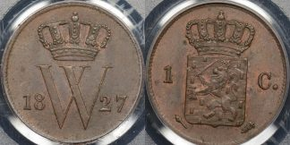 Netherlands 1827 1 cent km 47 PCGS MS62bn Uncirculated