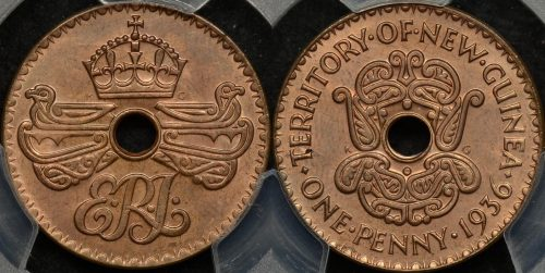 New guinea 1936 penny 1d km 6 PCGS MS65rb GEM Uncirculated