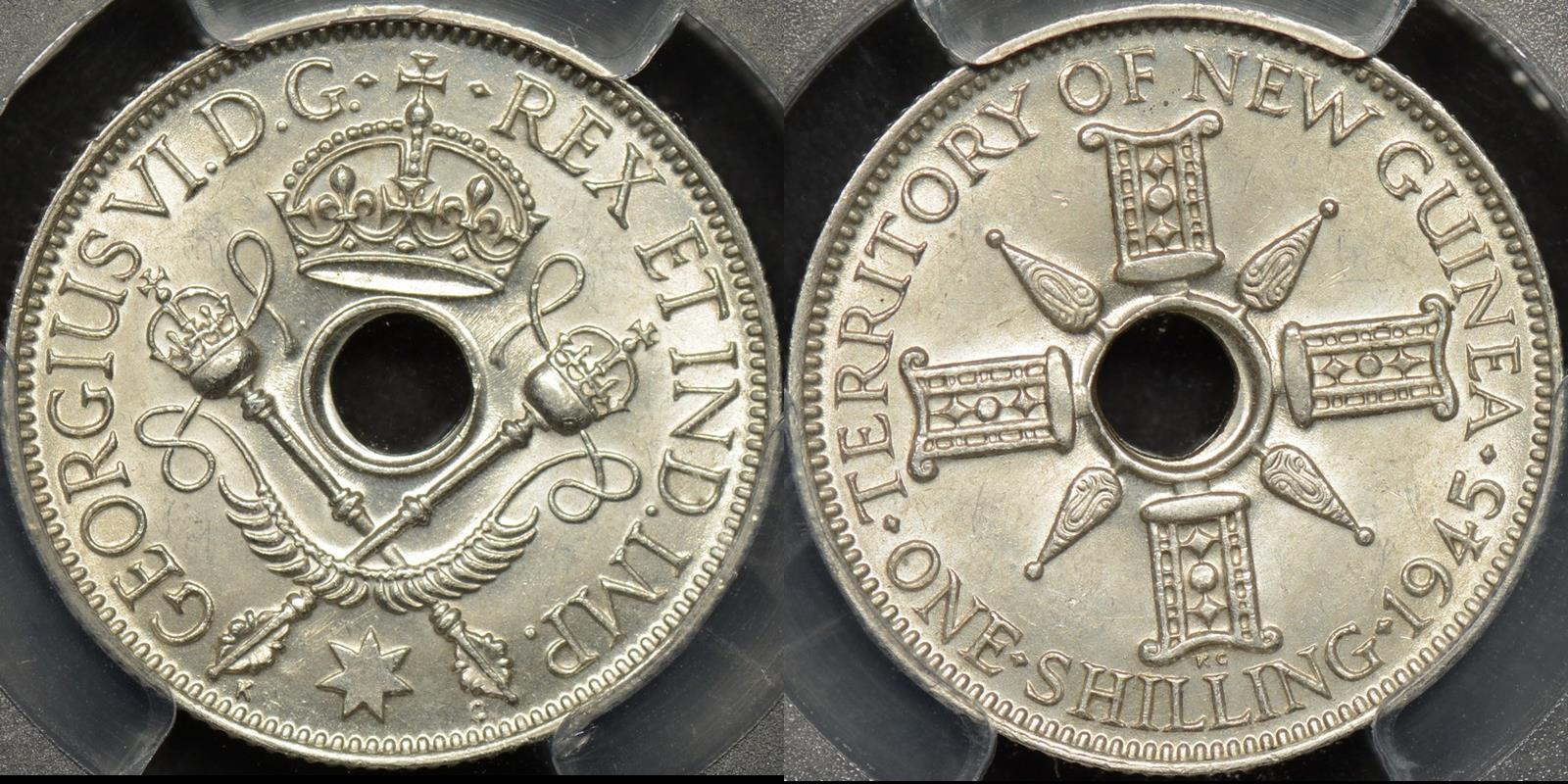 New guinea 1945 shilling 1s km 8 PCGS MS64 Choice Uncirculated
