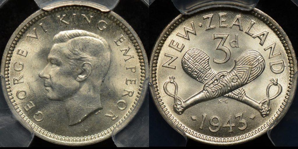 New zealand 1943 threepence 3d PCGS MS65 GEM Uncirculated