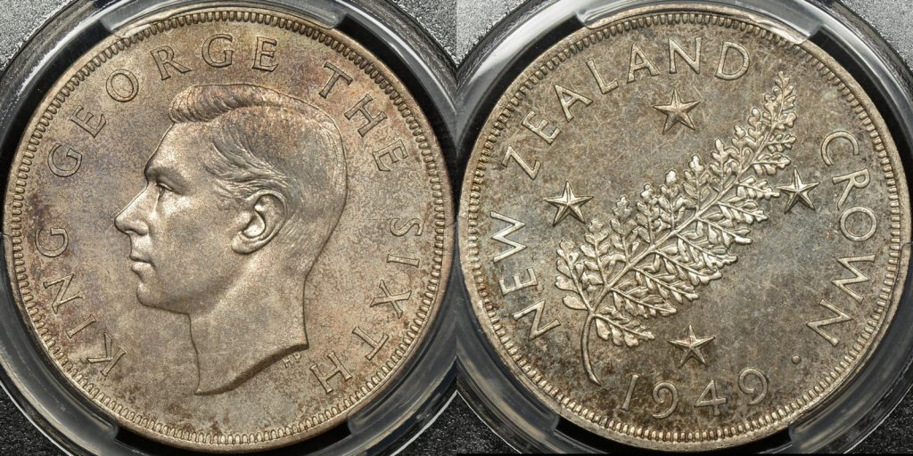 New zealand 1949 crown 5s PCGS MS65 GEM Uncirculated