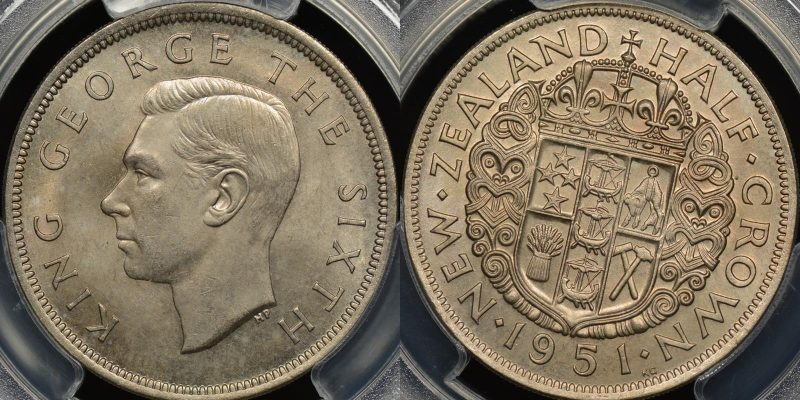New zealand 1951 half crown PCGS MS65 GEM Uncirculated