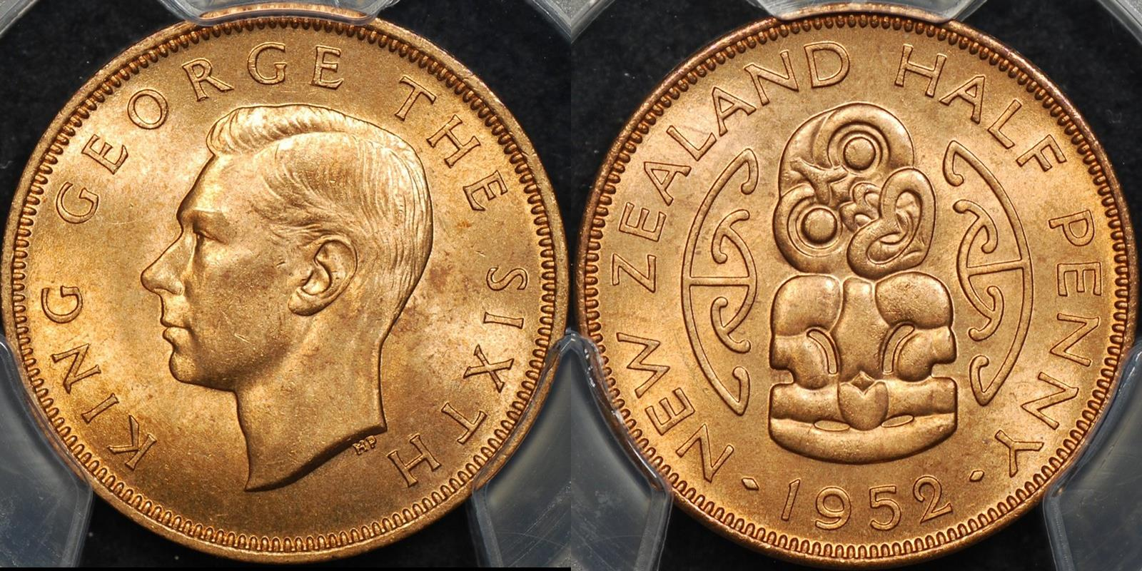 New zealand 1952 half penny 1 2d PCGS MS64rd Choice Uncirculated red