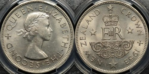 New zealand 1953 crown 5s PCGS MS62 Uncirculated