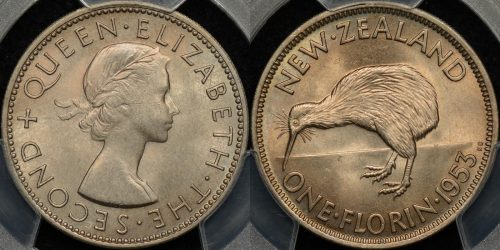 New zealand 1953 florin 2s PCGS MS65 GEM Uncirculated