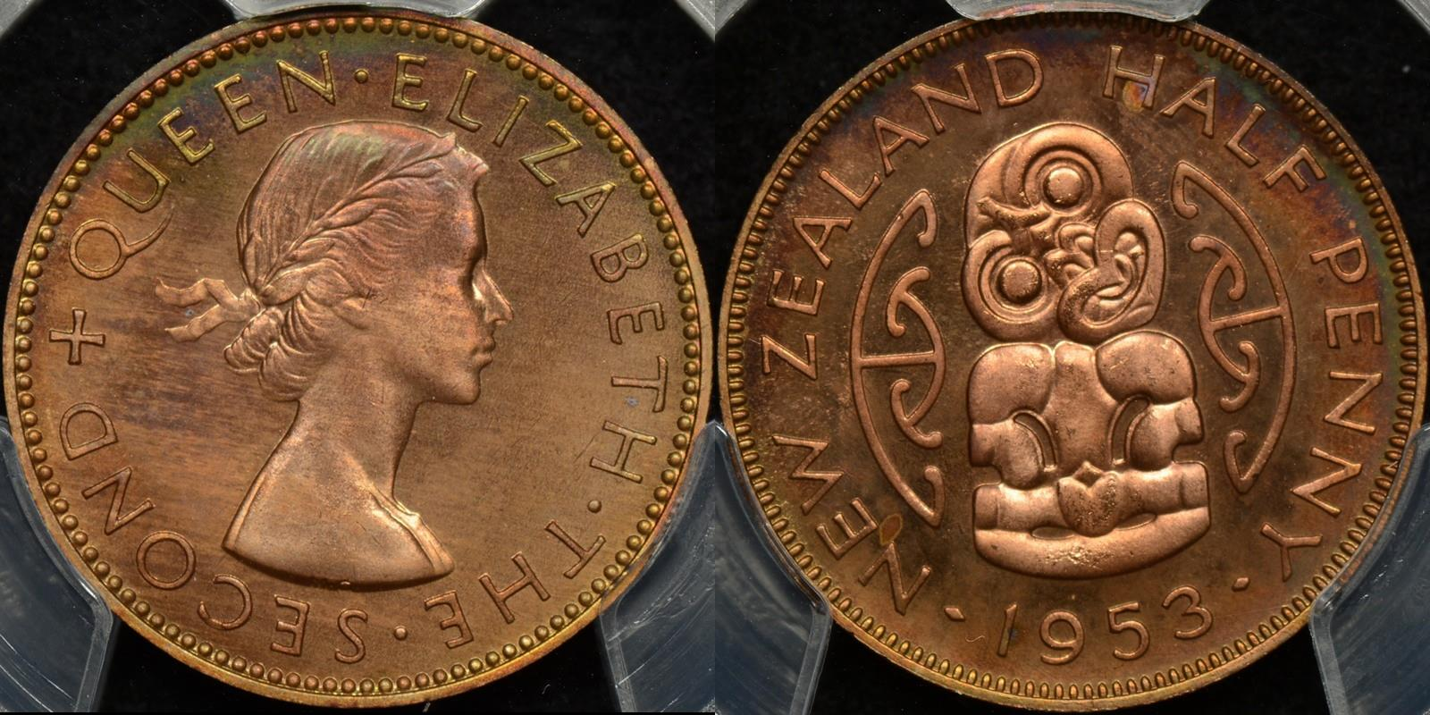 New zealand 1953 half penny 1 2d PCGS PR66rb proof