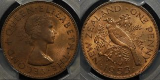 New zealand 1953 penny 1d PCGS MS64rb GEM Uncirculated