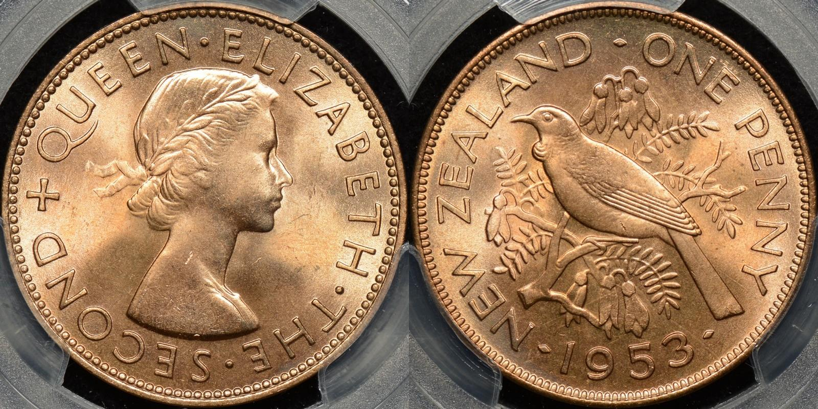 New zealand 1953 penny 1d PCGS MS65rd GEM Uncirculated red