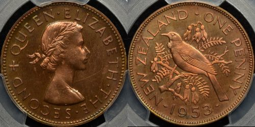 New zealand 1953 penny 1d PCGS PR64rb proof