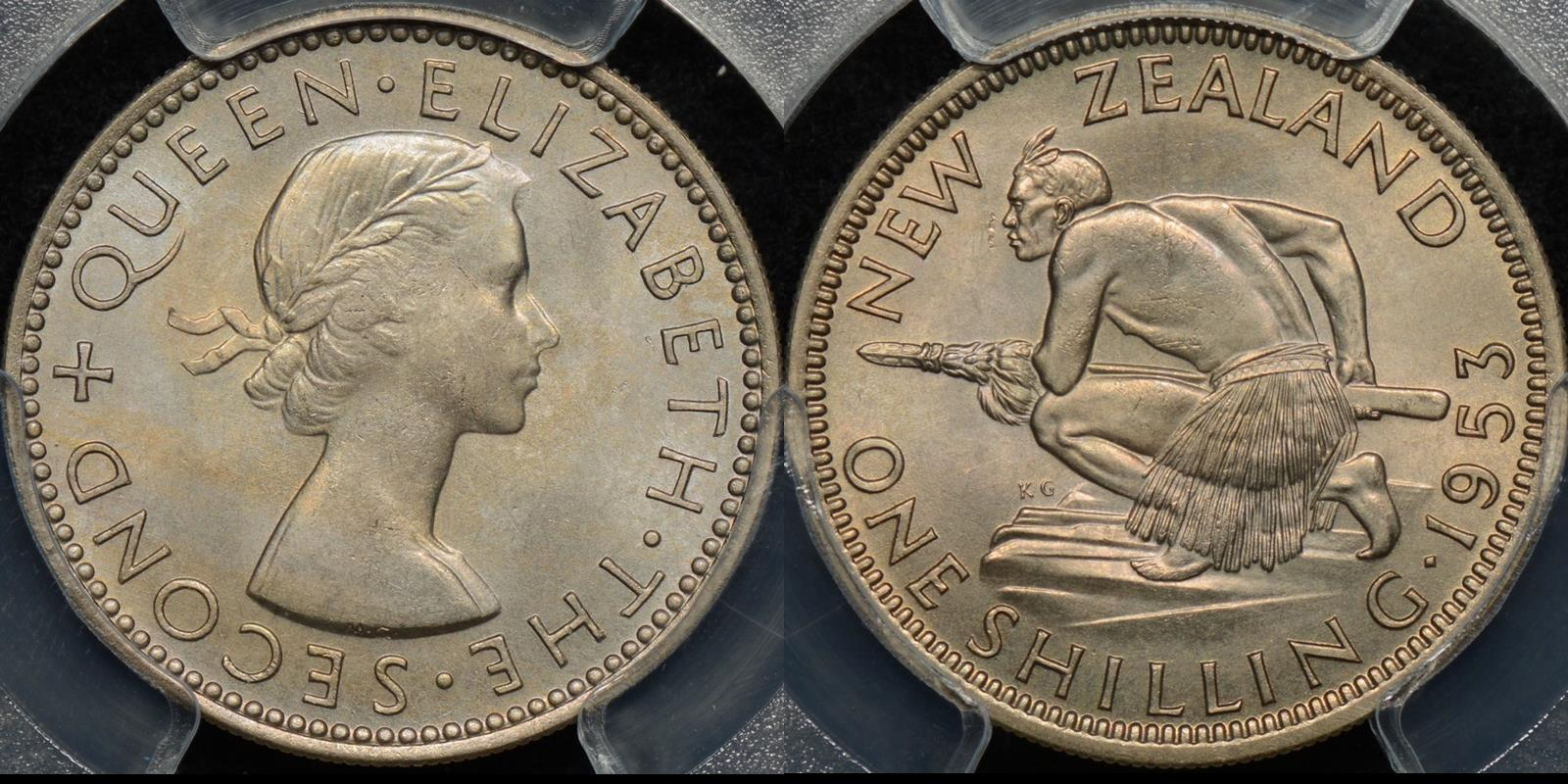 New zealand 1953 shilling 1s PCGS MS65 GEM Uncirculated