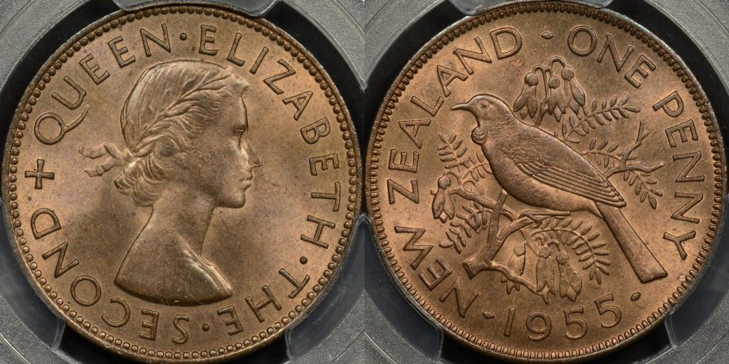 New zealand 1955 penny 1d PCGS MS65rb GEM Uncirculated