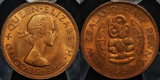 New zealand 1957 half penny 1 2d PCGS MS65rd GEM Uncirculated red
