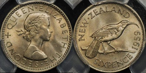 New zealand 1959 sixpence 6d PCGS MS65 GEM Uncirculated