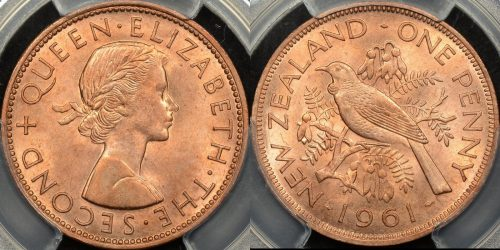 New zealand 1961 penny 1d PCGS MS63rd red Choice Uncirculated