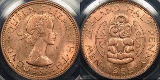 New zealand 1962 half penny 1 2d PCGS MS64rd Choice Uncirculated red