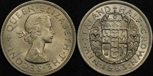 New zealand 1963 half crown Choice Uncirculated
