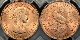 New zealand 1964 penny 1d PCGS MS65rd red GEM Uncirculated