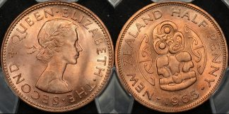 New zealand 1965 half penny 1 2d PCGS MS65rd GEM Uncirculated red