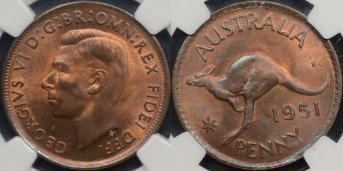 NGC MS64rb Australia 1951m penny 1d Choice Uncirculated