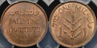 Palestine 1942 mil km 1 PCGS MS65rb GEM Uncirculated