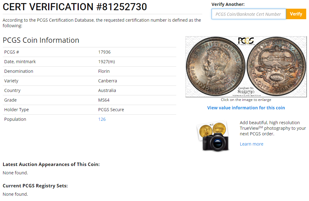 Pcgs Certificate Lookup The Purple Penny