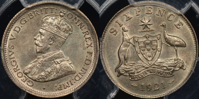 PCGS MS63 Australia 1921 sixpence 6d Uncirculated