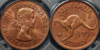 PCGS MS63rb Australia 1959m penny 1d Uncirculated