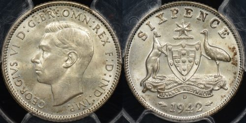 PCGS MS64 Australia 1942d sixpence 6d Choice Uncirculated