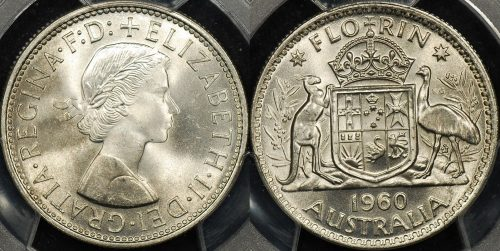 PCGS MS65 Australia 1960 florin 2s GEM Uncirculated