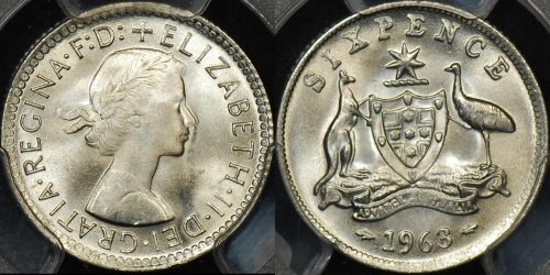 PCGS MS66 Australia 1963 sixpence 6d GEM Uncirculated