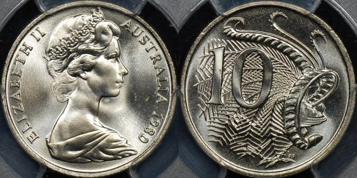 PCGS MS66 Australia 1980 10c GEM Uncirculated