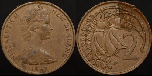 Planchet peel error new zealand 1967 2 cent