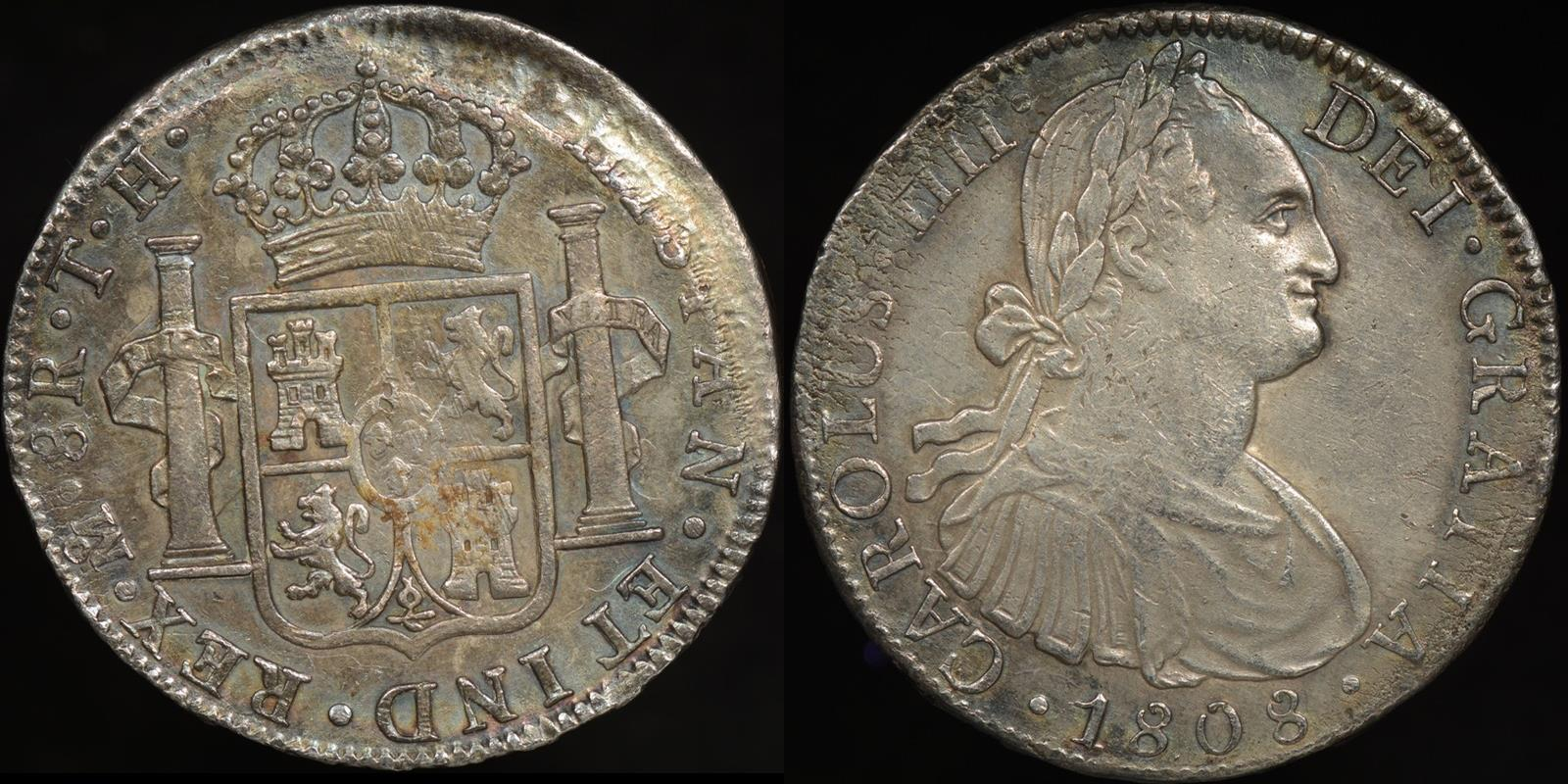 Proclamation coin mexico 1808th 8 reales km 109