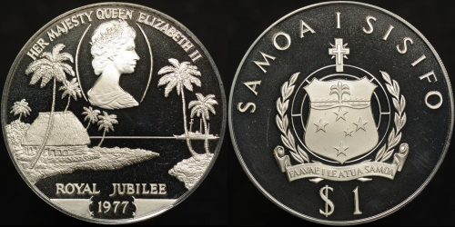 Samoa 1977 royal jubilee 1 silver proof