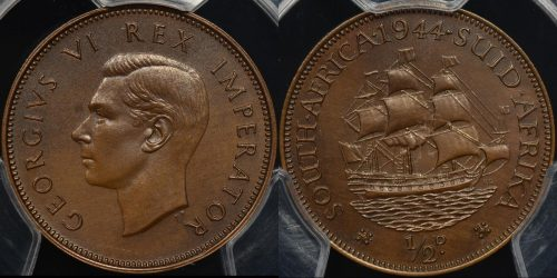 South africa 1944 halfpenny 1 2d km 24 PCGS PR64bn proof