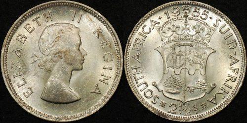 South africa 1955 2 1 2 shillings Uncirculated