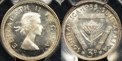 South africa 1955 threepence 3d km 47 PCGS PR65 proof